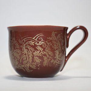 STARBUCKS 2004 Coffee Mug Brown with Gold Pattern